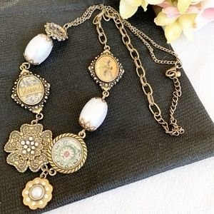 Antique inspired Charm Pearl Bead Necklace